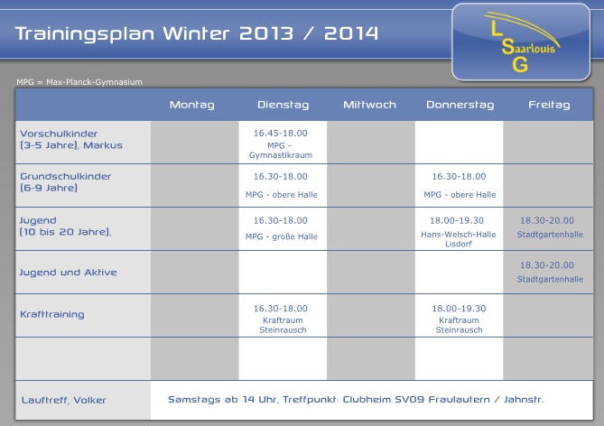 Trainingsplan Winter